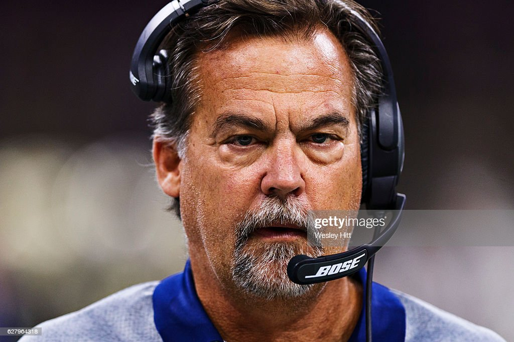 Head Coach Jeff Fisher of the Los Angeles Rams on the sidelines during a game against the New Orleans Saints at Mercedes-Benz Superdome on November 27, 2016 in New Orleans, Louisiana. The Saints defeated the Rams 49-21.