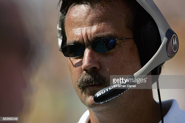 Head coach Jeff Fisher of the Tennessee Titans looks on during a game against the Pittsburgh Steelers at Heinz Field on September 11 2005 in...