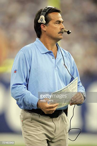 Head Coach Jeff Fisher of the Tennessee Titans looks on during the NFL game against Indianapolis Colts at the RCA Dome on October 8, 2006 in...
