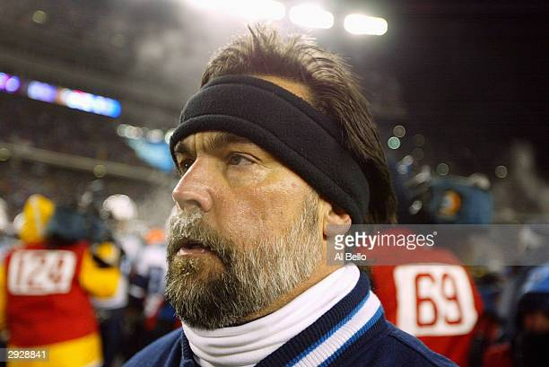Head coach Jeff Fisher of the Tennessee Titans on the field in the game against the New England Patriots in the AFC divisional playoffs on January 10...