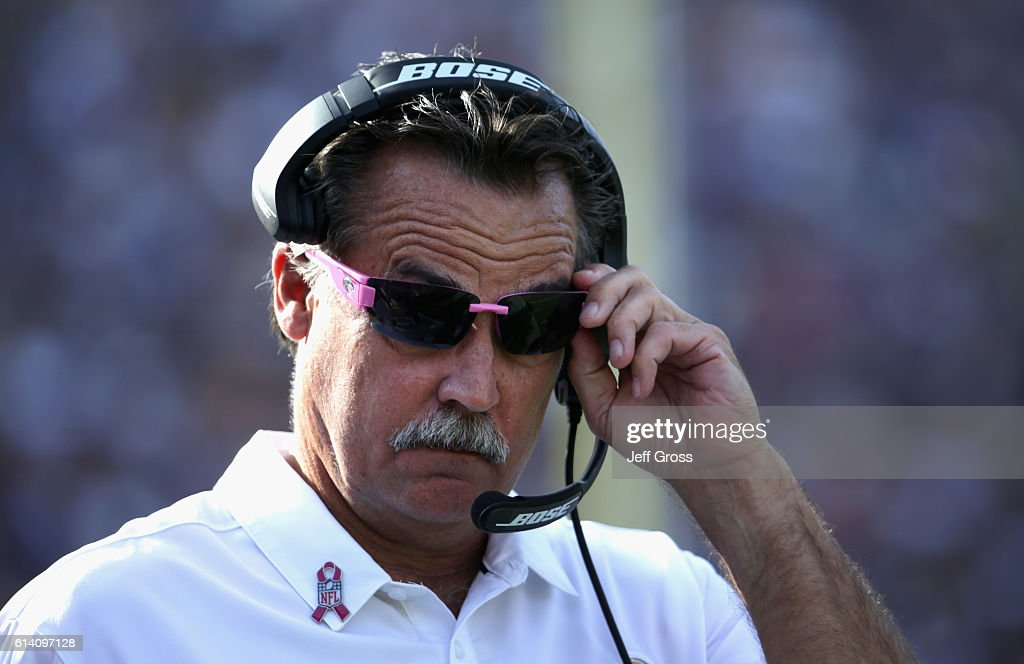 Head coach Jeff Fisher walks the sidelines during the fourth quarter of the game against the Buffalo Bills at the Los Angeles Memorial Coliseum on October 9, 2016 in Los Angeles, California. The Buffalo Bills won the game 30-19.