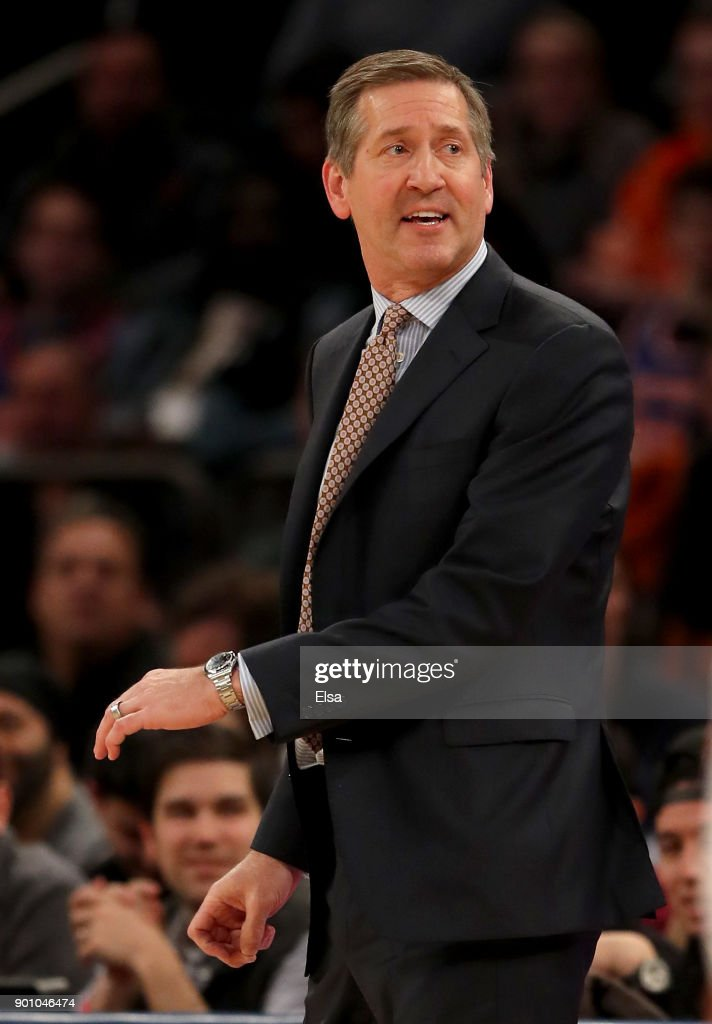 Head coach Jeff Hornacek of the New York Knicks reacts after he is called for a technical foul in the second half against the San Antonio Spurs at Madison Square Garden on January 02, 2018 in New York City.