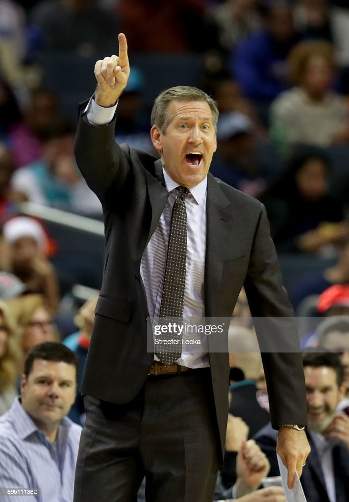 Head coach Jeff Hornacek of the New York Knicks reacts against the Charlotte Hornets during their game at Spectrum Center on December 18, 2017 in Charlotte, North Carolina.