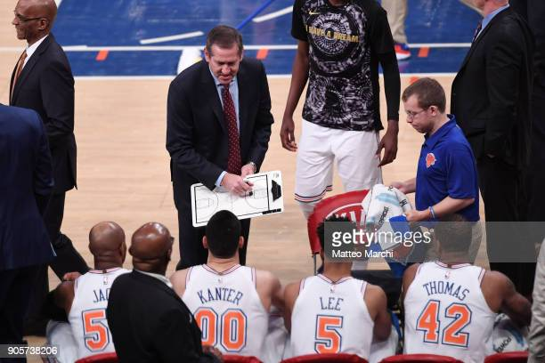Head Coach Jeff Hornacek of the New York Knicks talks to his team in a timeout during the second half of the game against the New Orleans Pelicans at...