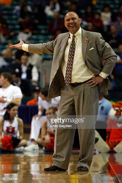 Head coach Jeff Lebo of the Auburn Tigers argues a call with the referees against the Vanderbilt Commodores during the SEC Basketball Tournament on...