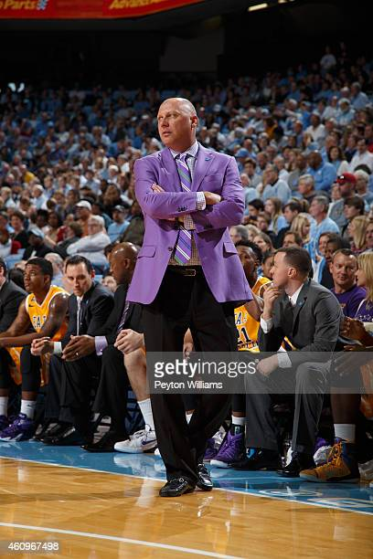 Head coach Jeff Lebo of the East Carolina Pirates coaches against the North Carolina Tar Heels on December 7 2014 at the Dean E Smith Center in...