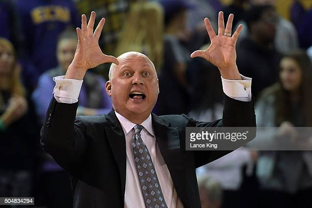 Head coach Jeff Lebo of the East Carolina Pirates directs his team against the SMU Mustangs at Williams Arena at Minges Coliseum on January 13 2016...