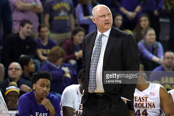 Head coach Jeff Lebo of the East Carolina Pirates looks on against the SMU Mustangs at Williams Arena at Minges Coliseum on January 13 2016 in...