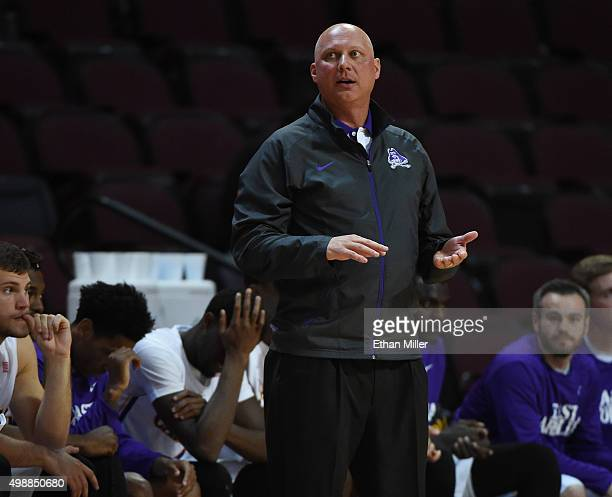 Head coach Jeff Lebo of the East Carolina Pirates looks on as his players take on the Little Rock Trojans during the 2015 Continental Tire Las Vegas...
