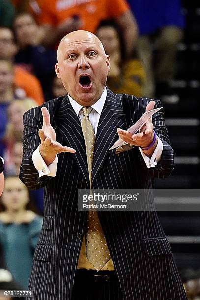 Head coach Jeff Lebo of the East Carolina Pirates reacts in the first half during a game against the Virginia Cavaliers at John Paul Jones Arena on...