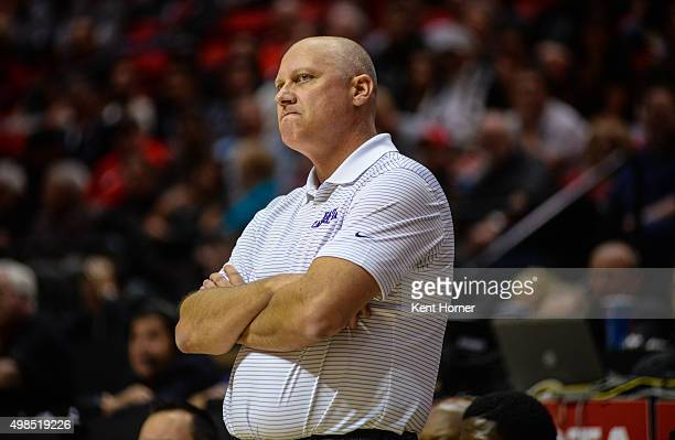 Head coach Jeff Lebo of the East Carolina Pirates reacts to a players foul in the first half against the San Diego State Aztecs at Viejas Arena on...