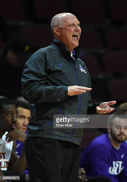 Head coach Jeff Lebo of the East Carolina Pirates yells to his players as they take on the Little Rock Trojans during the 2015 Continental Tire Las...