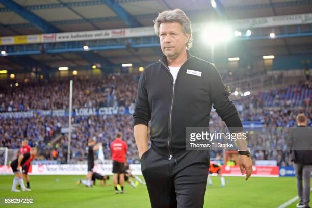 Head coach Jeff Saibene of Bielefeld looks leaves the pitch prior to the Second Bundesliga match between DSC Arminia Bielefeld and VfL Bochum 1848 at...