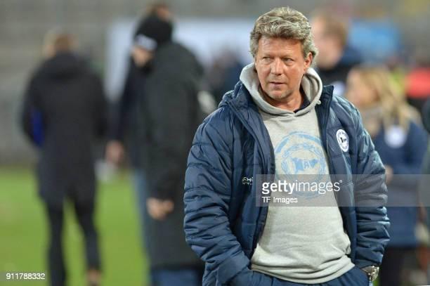 Head coach Jeff Saibene of Bielefeld looks on during the HHotelscom Wintercup match between Arminia Bielefeld and 1FC Koeln at SchuecoArena on...