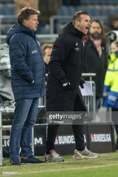 Head coach Jeff Saibene of Bielefeld looks on during the Second Bundesliga match between Arminia Bielefeld and Union Berlin at SchuecoArena on...
