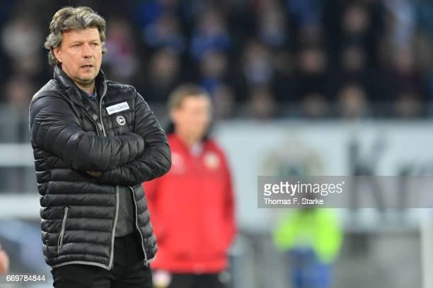 Head coach Jeff Saibene of Bielefeld reacts during the Second Bundesliga match between DSC Arminia Bielefeld and VfB Stuttgart at Schueco Arena on...