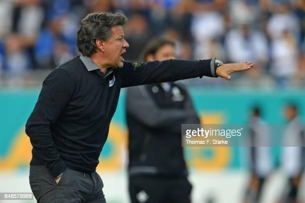 Head coach Jeff Saibene of Bielefeld reacts during the Second Bundesliga match between SV Darmstadt 98 and DSC Arminia Bielefeld at MerckStadion am...