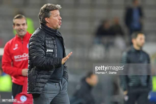 Head coach Jeff Saibene reacts during the Second Bundesliga match between DSC Arminia Bielefeld and FC Ingolstadt 04 at Schueco Arena on October 27...