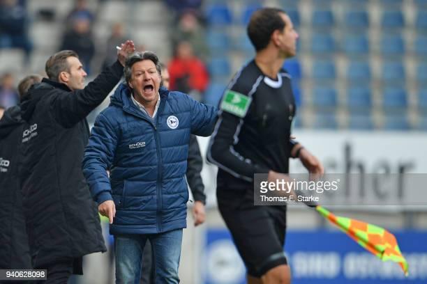 Head coach Jeff Saibene reacts during the Second Bundesliga match between DSC Arminia Bielefeld and Holstein Kiel at Schueco Arena on April 1 2018 in...