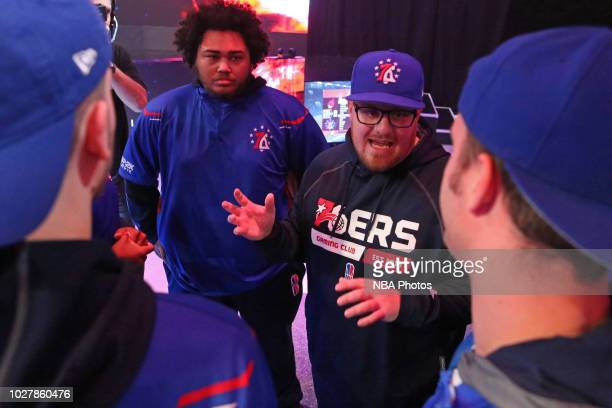 Head Coach Jeff Terrell of 76ers Gaming Club communicates with his team during the game against Heat Check Gaming during the Semifinals of the NBA 2K...