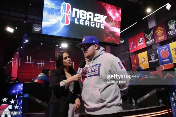 Head Coach Jeff Terrell of 76ers Gaming Club speaks with NBA 2K Analyst Alex Giaimo after the game against Knicks Gaming during Week 4 of the NBA 2K...