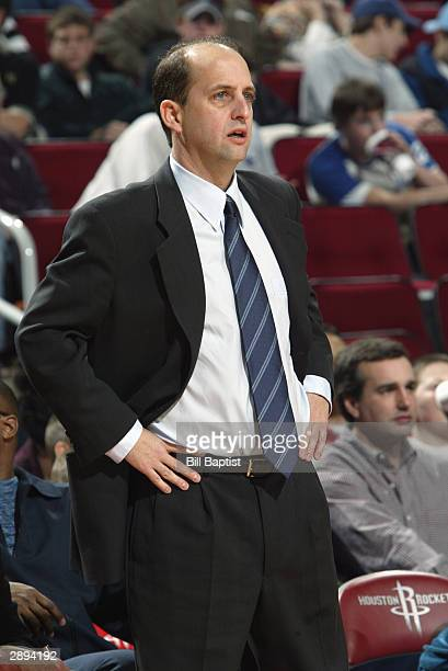Head coach Jeff Van Gundy of the Houston Rockets on the sideline during the game against the Boston Celtics on January 11 2004 at the Toyota Center...