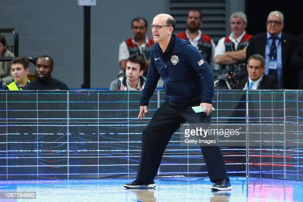 Head coach Jeff Van Gundy of USA reacts during a match between Uruguay and USA as part of Group E of FIBA Americas Qualifiers for China 2019 FIBA...