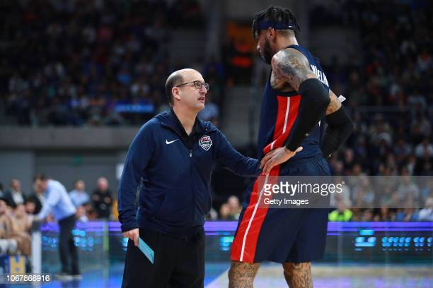 Head coach Jeff Van Gundy of USA talk with Eric Moreland of USA during a match between Uruguay and USA as part of Group E of FIBA Americas Qualifiers...