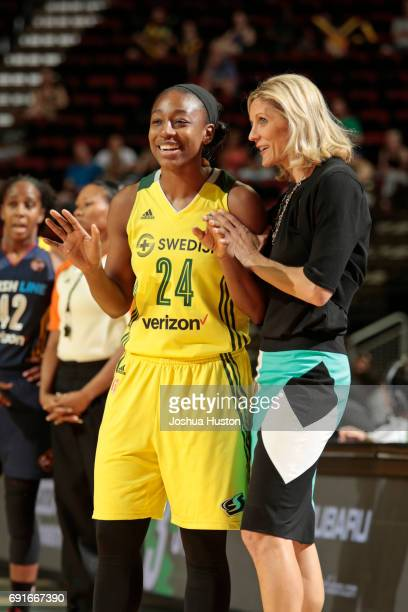 Head Coach Jenny Boucek and Jewell Loyd of the Seattle Storm talk during a game against the Indiana Fever on May 28 2017 at Allstate Arena in Seattle...
