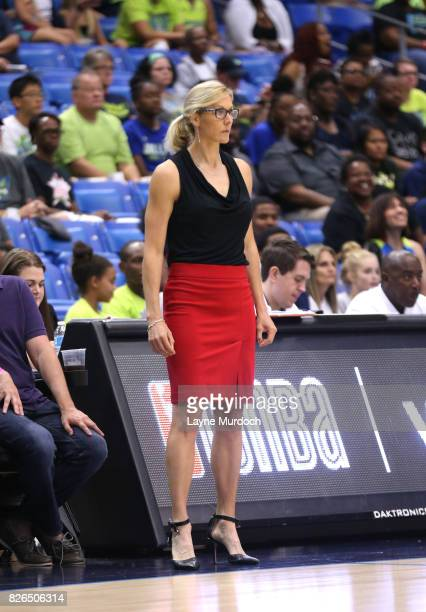 Head coach Jenny Boucek of the Seattle Storm coaches against the Dallas Wings on August 4 2017 at College Park Center in Arlington Texas NOTE TO USER...