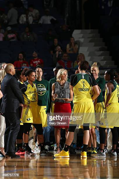 Head Coach Jenny Boucek of the Seattle Storm directs her team against the Chicago Sky on September 2 2016 at Allstate Arena in Chicago Illinois NOTE...