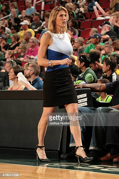 Head Coach Jenny Boucek of the Seattle Storm looks on against the Phoenix Mercury on June 21 2015 at KeyArena in Seattle Washington NOTE TO USER User...