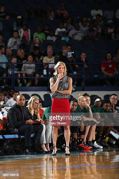 Head Coach Jenny Boucek of the Seattle Storm looks on against the Chicago Sky on September 2 2016 at Allstate Arena in Chicago Illinois NOTE TO USER...