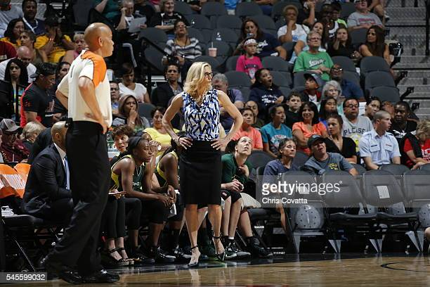 Head Coach Jenny Boucek of the Seattle Storm looks on against the San Antonio Stars during a WNBA game on July 8 2016 at the ATT Center in San...