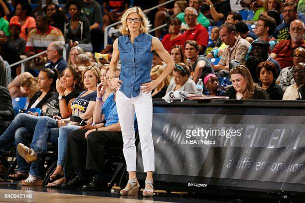 Head coach Jenny Boucek of the Seattle Storm looks on before the game against the Dallas Wings on June 16 2016 at College Park Center in Arlington...