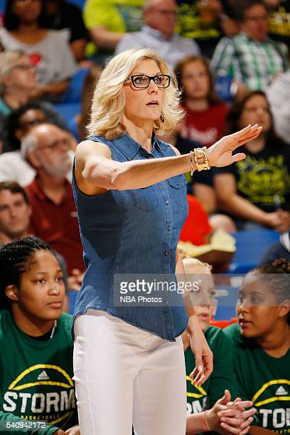 Head coach Jenny Boucek of the Seattle Storm looks on during the game against the Dallas Wings on June 16 2016 at College Park Center in Arlington...