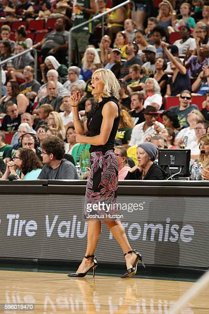 Head coach Jenny Boucek of the Seattle Storm looks on during the game against the Los Angeles Sparks on August 26 2016 at Key Arena in Seattle...
