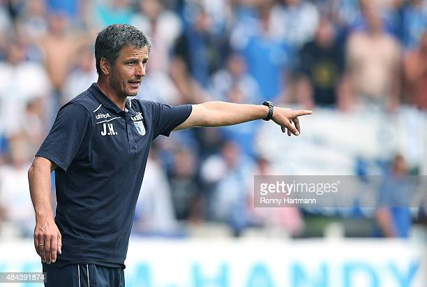 Head coach Jens Haertel of Magdeburg gestures during the Third League match between 1 FC Magdeburg and Hallescher FC at MDCCArena on August 16 2015...