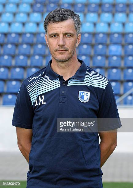 Head coach Jens Haertel poses during the team presentation of 1 FC Magdeburg at MDCCArena on July 7 2016 in Magdeburg Germany