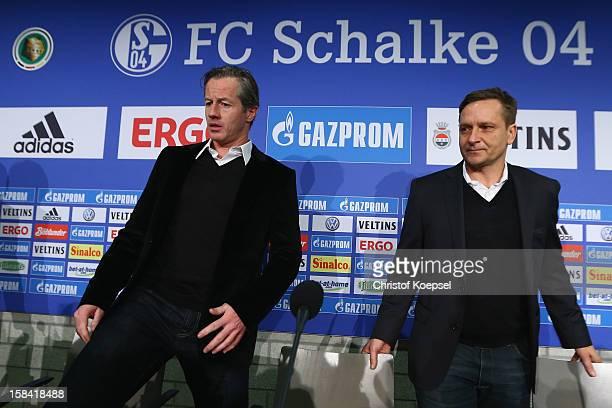 Head coach Jens Keller and manager Horst Heldt attend a FC Schalke 04 press conference at VeltinsArena on December 16 2012 in Gelsenkirchen Germany