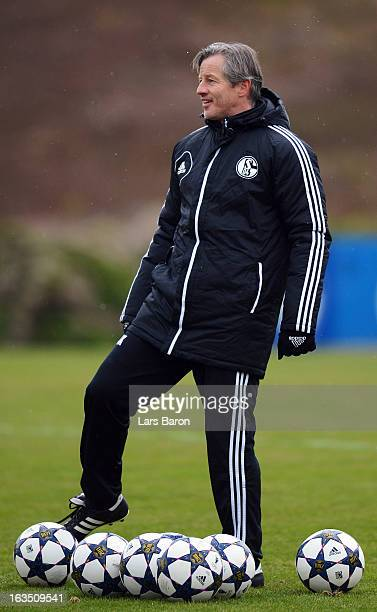 Head coach Jens Keller is seen during a FC Schalke 04 training session ahead of their UEFA Champions League round of 16 match against Galatasaray AS...