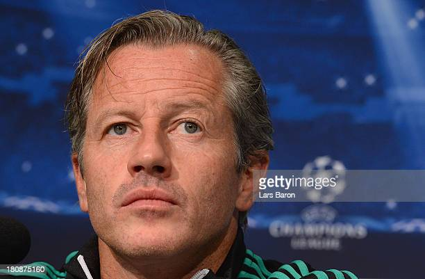 Head coach Jens Keller looks on during a FC Schalke 04 press conference ahead of their UEFA Champions League Group E match against FC Steaua...