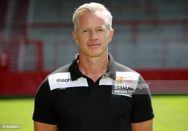 Head coach Jens Keller of 1 FC Union Berlin poses during the team presentation at Stadion an der Alten Foersterei on July 17 2017 in Berlin Germany