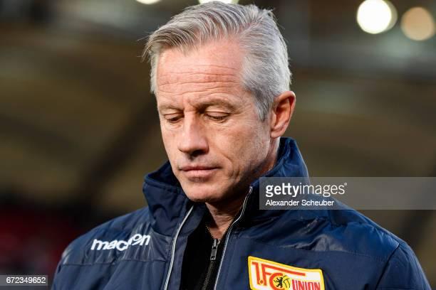 Head coach Jens Keller of Berlin is seen prior to the Second Bundesliga match between VfB Stuttgart and 1 FC Union Berlin at MercedesBenz Arena on...