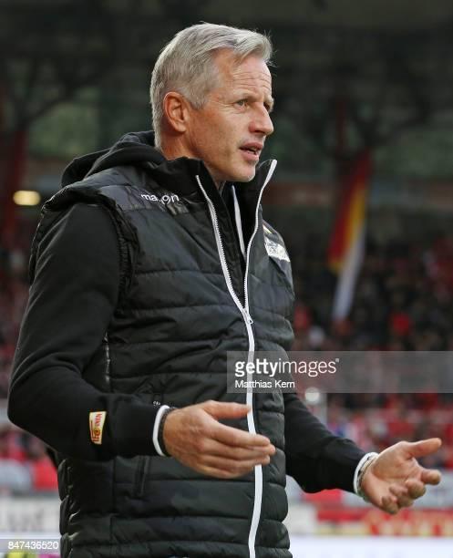 Head coach Jens Keller of Berlin looks on prior to the Second Bundesliga match between 1 FC Union Berlin and Eintracht Braunschweig at Stadion An der...