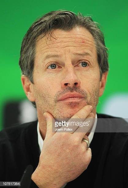 Head coach Jens Keller of Stuttgart attends a press conference after the Bundesliga match between Hannover 96 and VfB Stuttgart at the AWD Arena on...