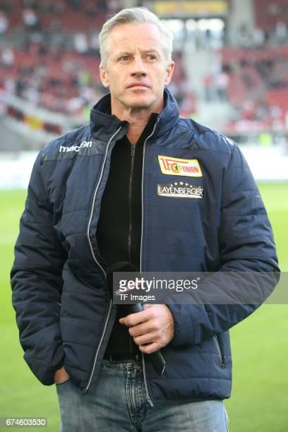 Head coach Jens Keller of Union Berlin looks on during the Second Bundesliga match between VfB Stuttgart and 1 FC Union Berlin at MercedesBenz Arena...