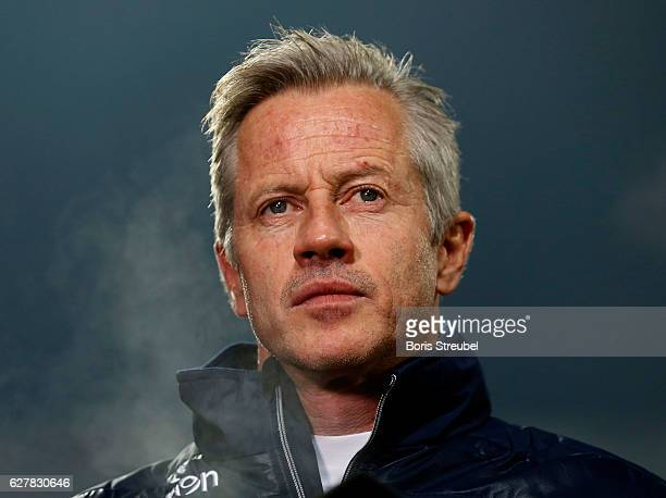 Head coach Jens Keller of Union Berlin looks on prior to the Second Bundesliga match between 1 FC Union Berlin and Eintracht Braunschweig at Stadion...