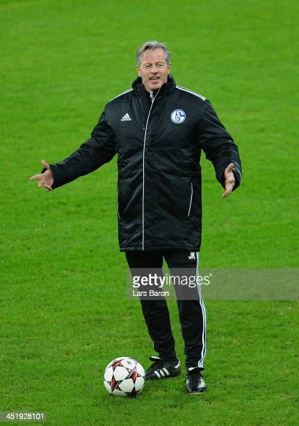 Head coach Jens Keller reacts during a FC Schalke 04 training session prior to their UEFA Champions League Group E match against FC Steaua Bucuresti...