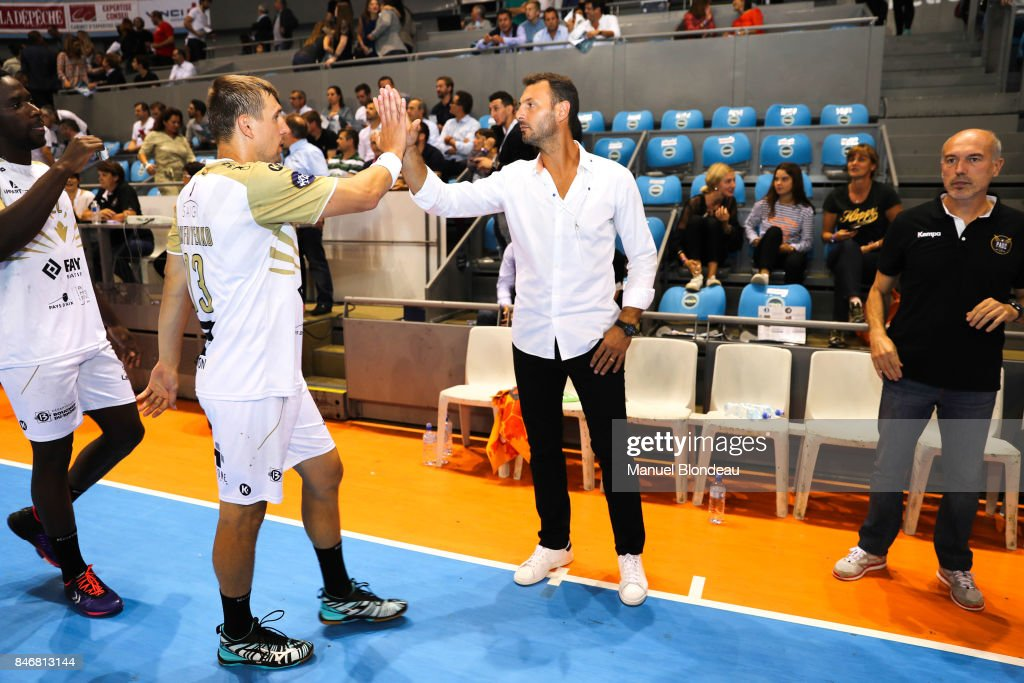Head coach Jerome Fernandez and Assistant coach Didier De Samie of Aix during Lidl Star Ligue match between Fenix Toulouse and Pays D'aix Universite Club on September 13, 2017 in Toulouse, France.